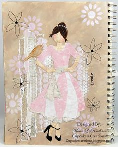 I made this art journal page using pretty patterned paper from Melissa Frances.