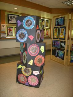 Art display- where could we put three boxes that the kids painted black for an art display in our school!  I love this!