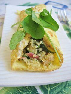 egg-wrapped quinoa salad