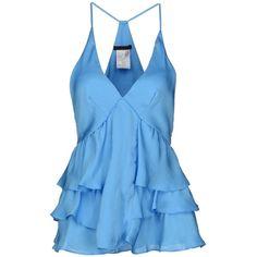 PINKO BLACK Top ($49) ❤ liked on Polyvore featuring tops, shirts, tank tops, tanks, azure, polyester shirt, vneck shirts, zipper shirt, sleeveless tank and blue tank top