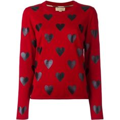 Burberry heart print jumper ($475) ❤ liked on Polyvore featuring tops, sweaters, shirts, jumpers, red, red jumper, burberry jumper, shirt sweater, heart print sweater and red sweater