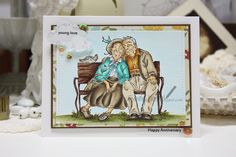 """Made by Cindy Hoesel, Mo Manning """"young love"""". Copic markers, Anniversary card, card"""