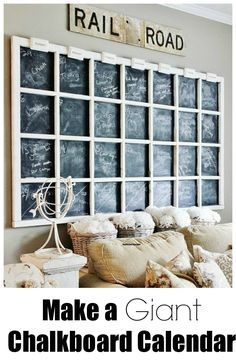 Fun way to organize your family activities with a giant chalkboard calendar.  thistlewoodfarms.com