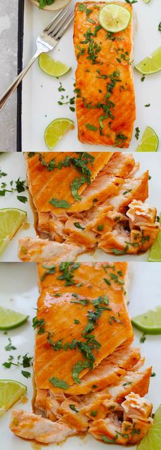 Cilantro Lime Salmon – the best and easiest cilantro lime salmon ever. 10 minutes active time and the rest in the oven. So good | rasamalaysia.com