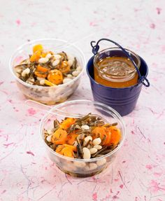 Carrots, navy beans and wild rice salad with orange dressing