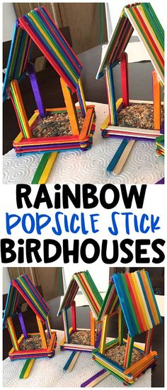 DIY Rainbow popsicle stick birdhouses for kids to make! What a fun spring craft art project for the birds! #springcrafts #birdcrafts #rainbowcrafts #popsiclestickcrafts #birdhouses #diybirdhouses #craftymorning