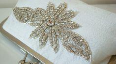 Rhinestone purse ivory silk purse elegant by AtelierEdytaLoukia