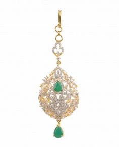 Leaf Shape Maang Tikka with Emerald Stone Drop by Ambey Shop Now: http://bit.ly/ambeywedding #Golden #Crystal #Bling #India #Designer #Jewelry #Ambey #Indian #Swarovski #Chic #Wedding #Bangles #ExclusivelyIn #Jewellery #Multicolor #Emerald #Sapphire #Necklace