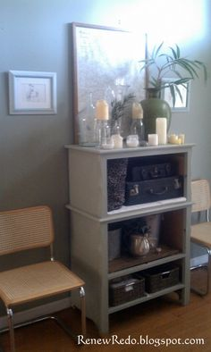 """Here is my latest DIY project. This old beat up chest of drawers is where some of the drawers came from for my """"tall wall"""" redo . In the s..."""