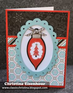 Christmas card made with Home for the Holidays (our October Stamp of the Month) and CTMH Snowhaven paper pack