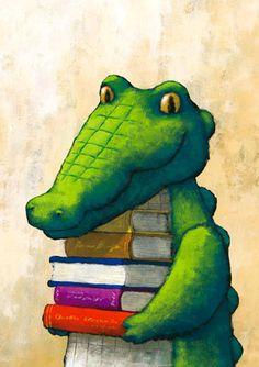 Book-loving Krokodil [crocodile] illustration @ Veetje.be