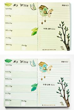 Completely *own* your week with a weekly planner that works. at: http://shop.boygirlparty.com/products/forest-animal-weekly-planner-notepad