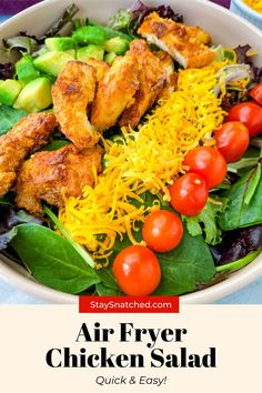 This Crispy Fried Chicken Salad is the perfect meal to add fresh vegetables to a weeknight meal. This dish is made with strips of chicken breasts or tenders and paired with greens, shredded cheese, and your favorite dressing. Fried Chicken Salads, Crispy Fried Chicken, Tandoori Chicken, Air Fryer Dinner Recipes, Delicious Dinner Recipes, Real Food Recipes, Healthy Recipes, Diet Recipes, Air Fryer Healthy