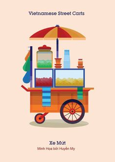 Students create colorful illustrations of Vietnamese street carts (photos) - Tuoi Tre News Indian Illustration, City Illustration, Art Cart, Topper, Vietnam Travel, Food Illustrations, Indian Street Food, Travel Posters, Gaming Posters