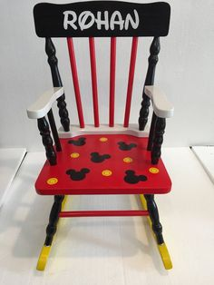 Teal Accent Chairs In Living Room Mickey Mouse Nursery, Mickey Mouse Gifts, Mickey Mouse Decorations, Mickey Mouse Chair, Diy Furniture Chair, Diy Chair, Painted Furniture, Steel Furniture, Retro Furniture