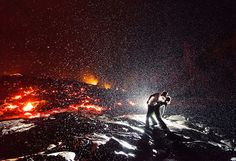 Kiss over volcano in the rain
