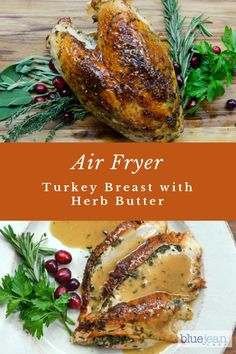 This herb butter turkey breast recipe adds amazing flavor to your turkey. Air-fried turkey breast always turns out beautifully brown and very moist inside. It's a perfect way to free up your oven for side dishes. Turkey Recipes, Dinner Recipes, Blue Jean Chef, Roast Turkey Breast, Get Thin, Sliced Turkey, Herb Butter, Breast Recipe, Roasted Turkey