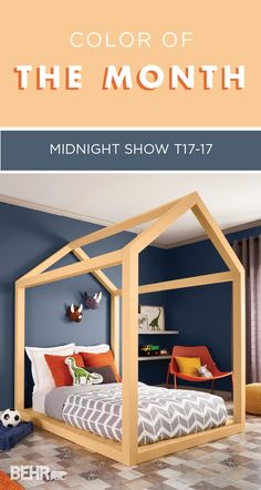 With a color this gorgeous, it's no wonder that Midnight Show is BEHR's color of the month. Pair this deep blue hue with bright colors, like sunshine yellow or light orange, to create a playful bedroom that any kid would love. Bright white accents and neutral grays help to lighten up this moody color.
