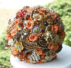Autumn wedding Broach Bouquet  Deposit  Made to by annasinclair, $75.00
