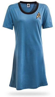 I would wear this as a night gown!  Star Trek Original Series T-Shirt Dress - Sciences Blue