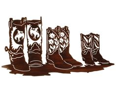 Family of Cowboy Boots Metal Wall Sculpture