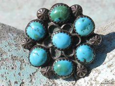 Vintage Southwestern Navajo Sterling Silver Turquoise Rosette Cluster Ring
