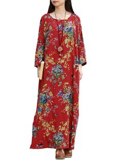 BangGood - Eachine1 Ethnic Floral Printed Long Sleeve Scoop Neck Maxi Dress For Women - AdoreWe.com