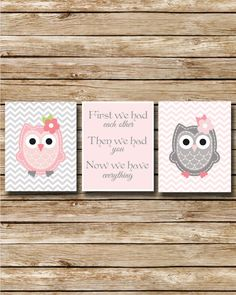 Nursery Print - Pink and Grey Owls on Chevron - 8 x 10 Prints - Digital File - First we Had Each Other