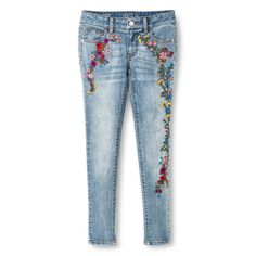 Girls' Super Skinny Jean - Floral Embroidery