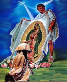 A painting at Celia's Restaurant in Daly City, California, depicting Pope John Paul II kneeling before the image of Our Lady of Guadalupe on Juan Diego's tilma. Religious Pictures, Jesus Pictures, Blessed Mother Mary, Blessed Virgin Mary, San Juan Diego, I Love You Mother, Jesus Drawings, Lady Guadalupe, Stained Glass Church