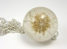 Resin Necklace  Dandelion Pendant Silver by sisicata on Etsy, $120.00