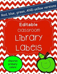 EDITABLE book bin labels for your classroom library. There are 104 labels in each set. This product comes in 4 different colors. The full set comes in yellow chevron, red chevron, blue chevron, and green chevron to match your classroom colors. Most of the labels have pictures to match the label, but please note that a few of them don't have pics because of copyright laws (most of the cards without labels are author's names so I couldn't copy pictures of book titles).