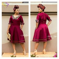 South African Dresses, Latest African Fashion Dresses, African Print Dresses, African Print Fashion, African Attire, African Wear, Traditional Dresses Designs, Traditional Outfits, Seshweshwe Dresses