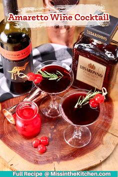 Add this Amaretto Wine Cocktail to your must-try list for the holidays. A simple 3-ingredient cocktail that goes down easy and is even easier to prepare!