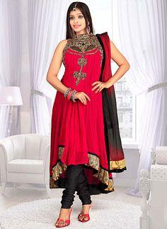 Remarkable Red Georgette Anarkali Suit