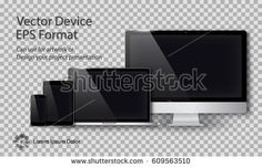 Realistic Computer Monitor, Laptop, Tablet and Smart Phone with Blank Screen Isolated on Transparent Background. Can Use for Template Project Presentation. Electronic Gadget, Device Mockup Set.