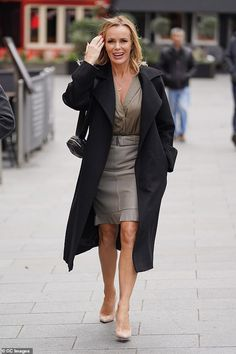 Amanda Holden is a vision in a plunging top with racy leather pencil skirt as she heads to work Pencil Skirt Outfits, Denim Pencil Skirt, Pencil Skirt Black, Denim Skirt, Pencil Dresses, Pencil Skirts, Office Skirt Outfit, Office Outfits, Britain's Got Talent
