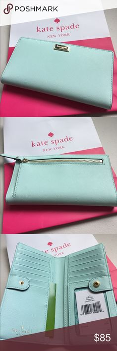 """NWT Kate Spade """"grace blue"""" Stacy wallet 13 cardslots & 1 id slot. In the back there's a zippered pocket for coins. Pretty blue/green color perfect for spring/summer. kate spade Bags Wallets"""