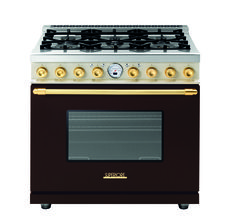 Range DECO 36'' Classic Brown dual color, Gold - Range with a traditional design and an unparalleled level of cooking flexibility. The main oven is electric multi-mode self-clean. On the worktop, the range always features 6 brass burners and an electric griddle layout.