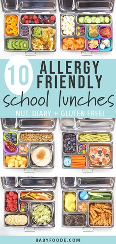 These 10 Allergy-Friendly School Lunches are all nut free, dairy free and gluten free! You'll find two weeks worth of healthy and delicious school lunch ideas that your toddler or kid won't resist! Dairy Free Recipes For Kids, Dairy Free Snacks, Baby Food Recipes, Gluten Free Lunch Ideas, Gluten And Dairy Free Kids, Gluten Free Lunches, Snack Recipes, Dairy Recipes, Dinner Recipes