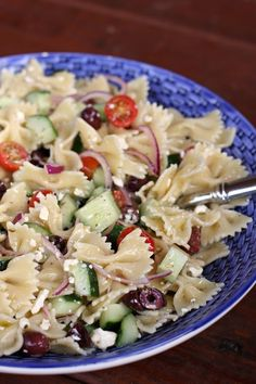 This simple Greek Pasta salad makes a perfect spring side dish or a delicious light entree with the addition of grilled chicken or shrimp.