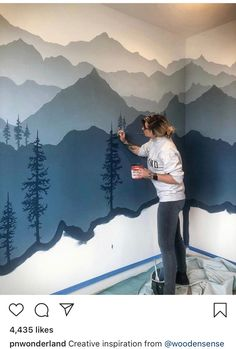 I just know you guys aren't tired of me painting trees yet 🌲 www.woodensens – Gregor Powroznik I just know you guys aren't tired of me painting trees yet 🌲 www.woodensens I just know you guys aren't tired of me painting trees yet 🌲 www. Kids Bedroom, Bedroom Decor, Wall Decor, Mountain Mural, Mountain Nursery, Mountain Bedroom, Mountain Decor, Mountain Paintings, Boy Room