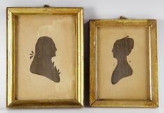 """Two early silhouettes of George and Martha Washington, 6 1/2"""" high x 5"""" wide (George Washington), 6"""" high x 4 1/2"""" wide (Martha Washington). Provenance: from a Beverly, Massachusetts estate."""