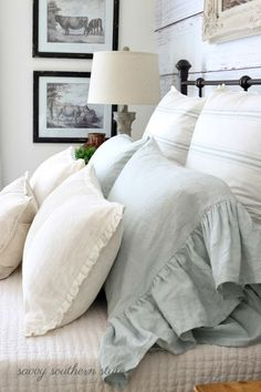 Pillows with big shabby chic ruffles... and pillow with tiny white pleated ruffle