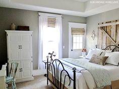 Master Bedroom: Smoked Oyster by Olympic/Lowes Trim: Ultra White by Valspar in semi-gloss (All paint finishes are in satin, unless otherwise specified) Dream Bedroom, Home Bedroom, Master Bedroom, Bedroom Decor, Master Bath, Texas Bedroom, Bedroom Ideas, Peaceful Bedroom, Pretty Bedroom