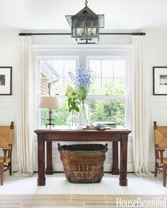 Dark Wood Balances Out A Bright Room