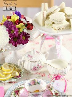 Tea Party Food - Recipes perfect for a tea party birthday, bridal shower, baby shower or a ladies afternoon tea. Tea Party Bridal Shower, Shower Party, Baby Shower, Bridal Showers, Tea Party Theme, Party Themes, Party Ideas, Event Ideas, Wedding Themes
