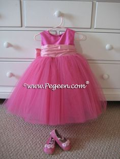 overstock pink flower girl dresses | HOT PINK AND PEONY BABY PINK ballerina style FLOWER GIRL DRESSES ...