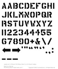 Information on MD Military Stencil A, a general purpose stencil font based on the detail lettering on US military aircraft. Stencil Lettering, Stencil Graffiti, Typeface Font, Typography Fonts, Font Art, Army Letters, Smart Quotes, Letter Form, Letter Stencils