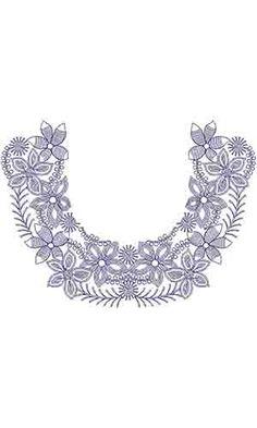 Aari Chain Stitch Neck Embroidery Kurti Design